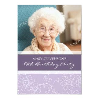 80.as invitaciones florales púrpuras de la fiesta invitación 12,7 x 17,8 cm