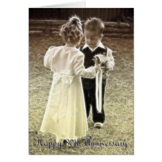 80.o Aniversario feliz del aniversario de boda Tarjeta De Felicitación