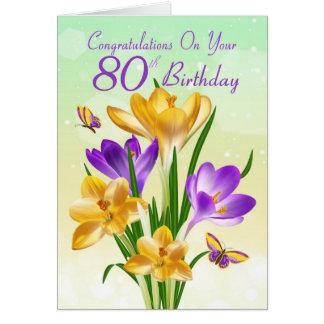 80.o Azafrán amarilla y púrpura del cumpleaños Tarjeta De Felicitación