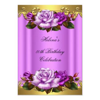 80.o Cordón púrpura elegante de los rosas del oro Invitación 12,7 X 17,8 Cm