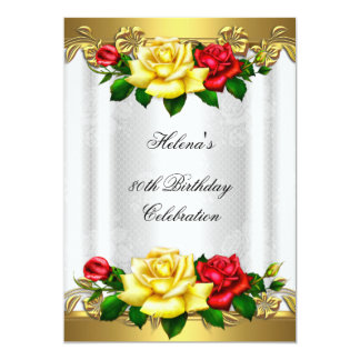 80.o Cordón rojo elegante de los rosas del oro de Invitación 12,7 X 17,8 Cm