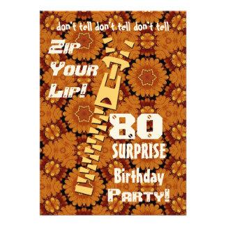 80 o Cremallera del cumpleaños de la sorpresa su o Invitacion Personalizada