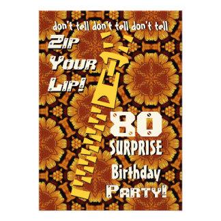 80 o Cremallera del cumpleaños de la sorpresa su o Comunicados Personalizados