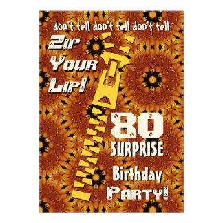80 o Cremallera del cumpleaños de la sorpresa su o Comunicado Personalizado