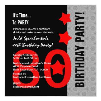 80.o Cumpleaños A04 divertido negro de plata rojo Invitación 13,3 Cm X 13,3cm