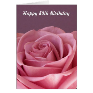 80.o cumpleaños color de rosa tarjeta de felicitación
