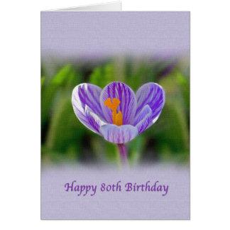 80.o Cumpleaños con la flor del azafrán Tarjeta De Felicitación