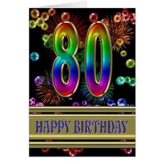 80.o Cumpleaños con las burbujas y los fuegos Tarjeta De Felicitación