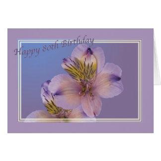 80.o Cumpleaños con las flores de la lavanda Tarjeta De Felicitación