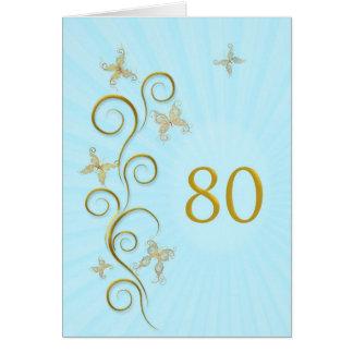 80.o Cumpleaños con las mariposas de oro Tarjeta