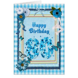80.o Cumpleaños con un efecto del libro de Tarjeta De Felicitación