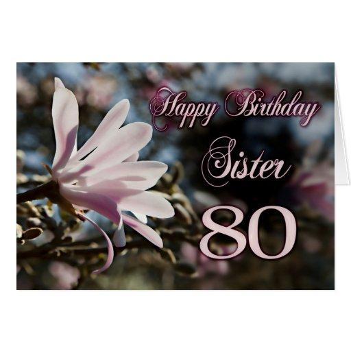 80.o cumpleaños de la hermana con la magnolia tarjetas