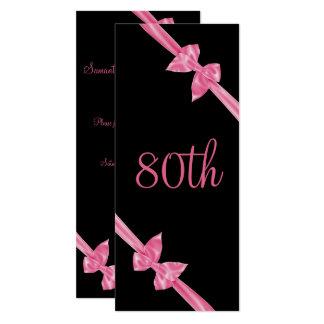 80.o cumpleaños de los lazos de satén rosados invitación 10,1 x 23,5 cm