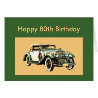 80.o cumpleaños del coche clásico del vintage tarjeta de felicitación