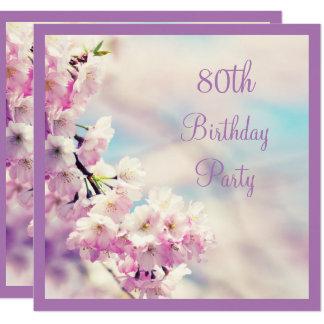 80.o cumpleaños del flor hermoso invitación 13,3 cm x 13,3cm
