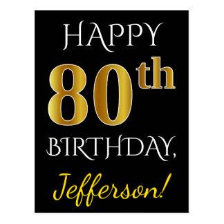 80.o cumpleaños del oro negro, falso + Nombre de Postal