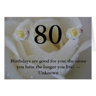 80.o cumpleaños del rosa blanco tarjeta de felicitación