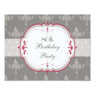 80.o cumpleaños elegante de los rosas grises y invitación 10,8 x 13,9 cm
