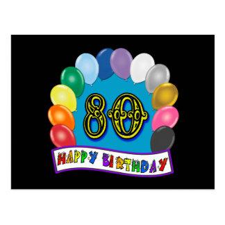80.o cumpleaños feliz con los globos postal
