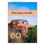 80.o cumpleaños feliz DIVERTIDO - camión del naran Tarjeton