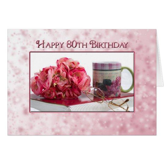 80.o cumpleaños - hembra - color de tarjeta de felicitación