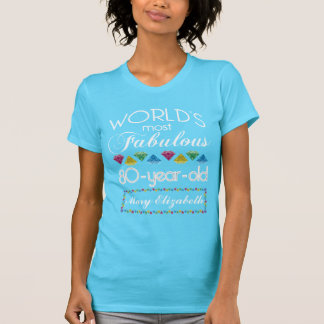 80.o Cumpleaños la mayoría de la turquesa colorida Camisetas