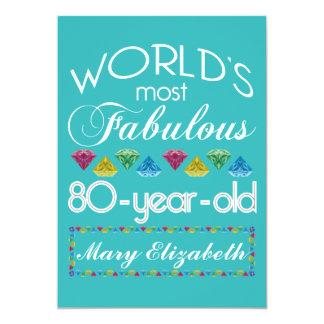 80.o Cumpleaños la mayoría de la turquesa colorida Invitación 12,7 X 17,8 Cm