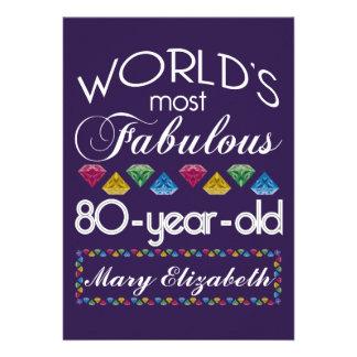 80 o Cumpleaños la mayoría de las gemas coloridas Invitaciones Personales