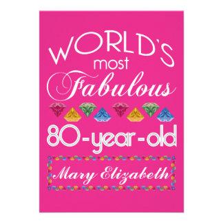 80 o Cumpleaños la mayoría del rosa colorido Anuncio
