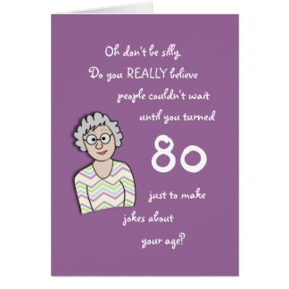 80.o Cumpleaños para la tarjeta Ella-Divertida