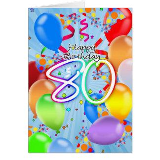 80 o cumpleaños - tarjeta de cumpleaños del globo