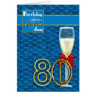 80.o cumpleaños - tarjeta de cumpleaños geométrica