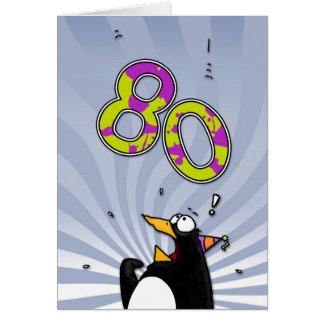 80.o cumpleaños - tarjeta de la sorpresa del pingü