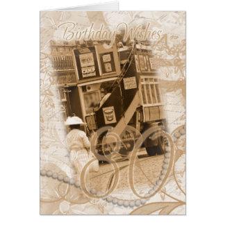 80.o cumpleaños - vintage, nostalgia, cumpleaños tarjeta de felicitación