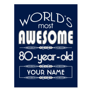 80 o Del cumpleaños de los mundos azul marino Tarjeta Postal