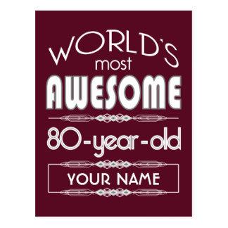80.o Del cumpleaños de los mundos rojo oscuro Postal