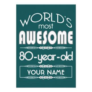 80 o Del cumpleaños de los mundos verde oscuro Invitacion Personal