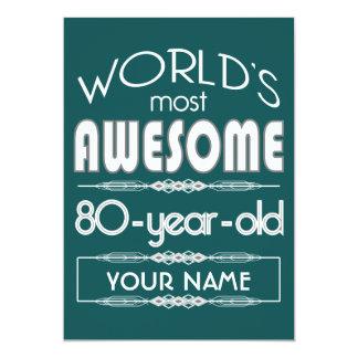 80.o Del cumpleaños de los mundos verde oscuro Invitación 12,7 X 17,8 Cm