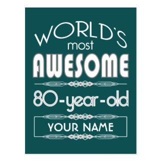 80 o Del cumpleaños de los mundos verde oscuro Tarjeta Postal