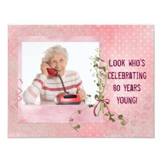 80.o El cumpleaños invita Invitación 10,8 X 13,9 Cm