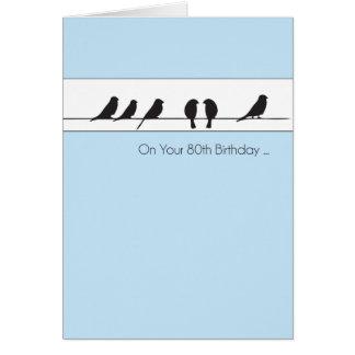 80.o Estribillo de los pájaros del cumpleaños Tarjeta De Felicitación