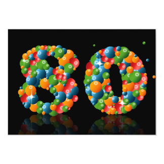 80.o Fiesta de cumpleaños, con las burbujas y las Invitación 12,7 X 17,8 Cm