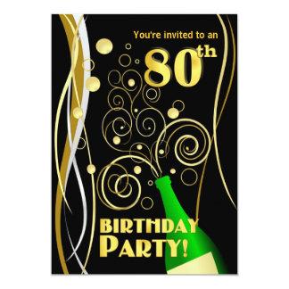 80.o Fiesta de cumpleaños - diversión y Champán Invitación 12,7 X 17,8 Cm