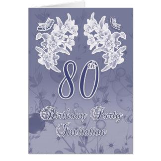 80 o Flo de la invitación de la fiesta de cumpleañ