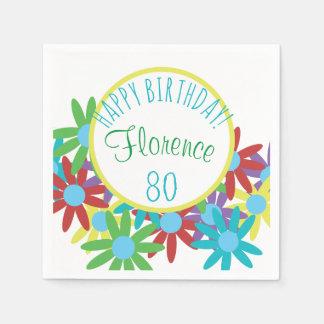 80.o Floral del cumpleaños personalizado Servilleta Desechable