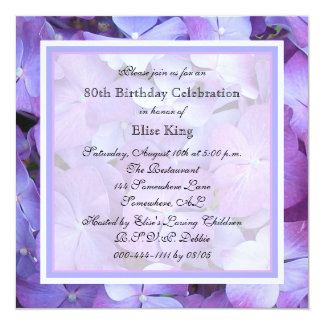 80.o Hydrangeas de la púrpura de la invitación de