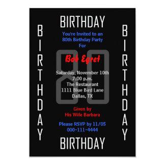 80.o Invitación 80 de la fiesta de cumpleaños