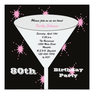 80.o Invitación de la fiesta de cumpleaños -- Invitación 13,3 Cm X 13,3cm