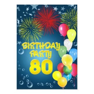 80.o Invitación de la fiesta de cumpleaños con los Invitación 12,7 X 17,8 Cm