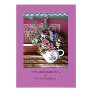 80.o Invitación de la fiesta de cumpleaños, flores